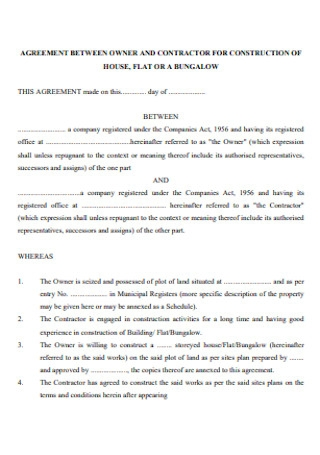 Construction for Contractor Agreement