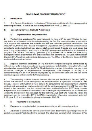 Consultant Management Contract