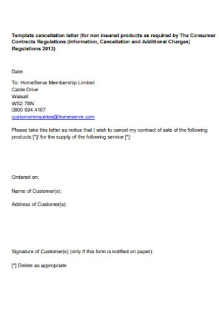 Consumer Contract Cancellation Letter