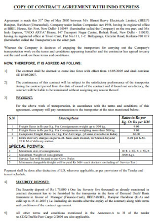 Contract Agreement for Indo Express