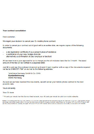 Contract Cancellation Letter Format