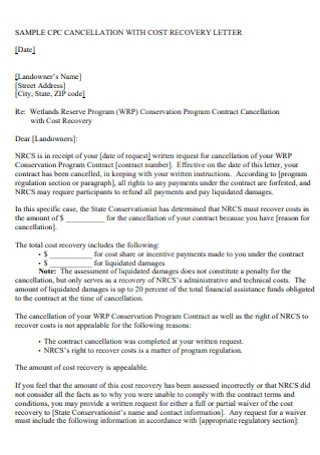Contract Cancellation With Cost Recovery Letter