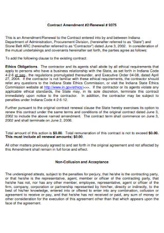 Contract Renewal Amendment