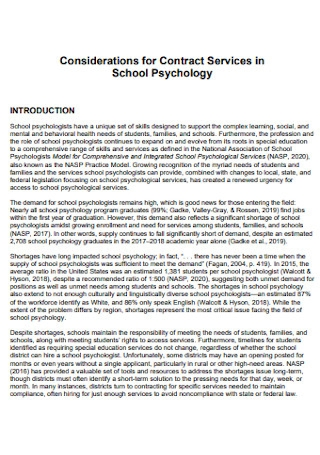 Contract Services in School Psychology