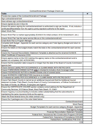 Contract and Amendment Package Check List