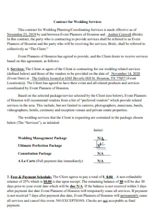Contract for Wedding Event Services Planners