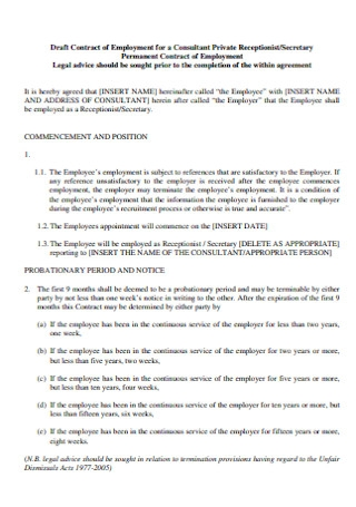 Contract of Employment for a Consultant