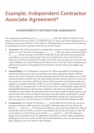 Contractor Associate Agreement