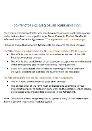 Contractor Non Disclosure Agreement