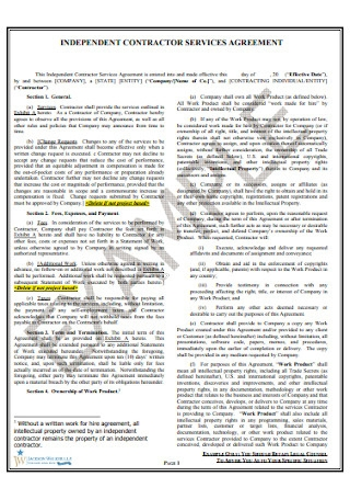 Contractor Services Agreement Example