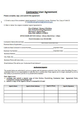 Contractor User Agreement