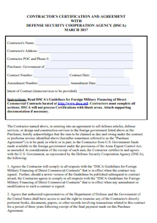 Contractors Certification Agreement