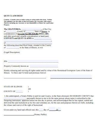 Convey and Quit Calm Deed Form