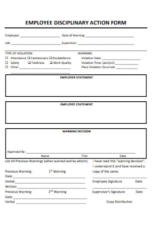 Corporate Employee Disciplinary Action Form