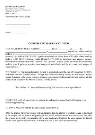 Corporate Warrenty Deed