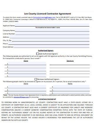 County Licensed Contractor Agreement