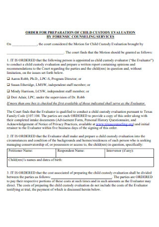 Cousiling Custody Evaluation Report
