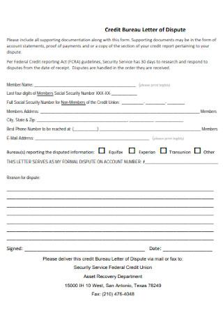 Credit Bureau Letter of Dispute