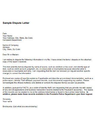 Credit Dispute Letter Format