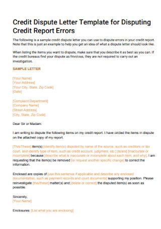 Credit Dispute Report Errors Letter