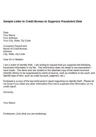 Credit Suppress Fraudulent Dispute Letter