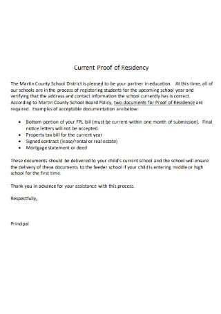 Current Proof of Residency Letter