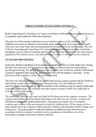 Custody Evaluation Contract Report