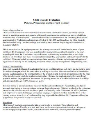 Custody Evaluation Policy Report