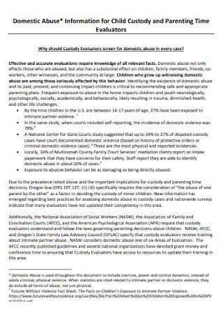 Custody and Parenting Time Evaluators Report