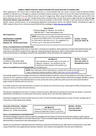 Customer Civil Service Resume