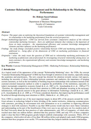 Customer Performance Relationship Management