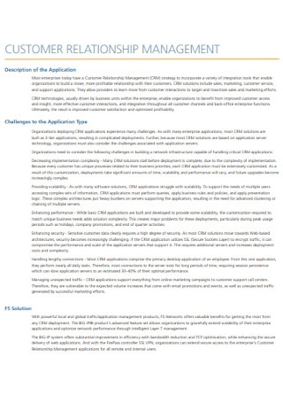Customer Relationship Management Example