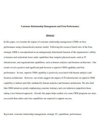 Customer Relationship Management and Firm Performance