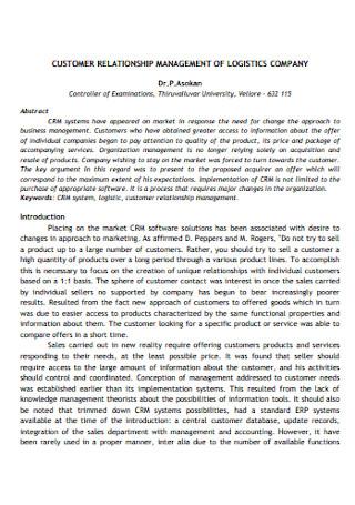 Customer Relationship Management of Logistics Company