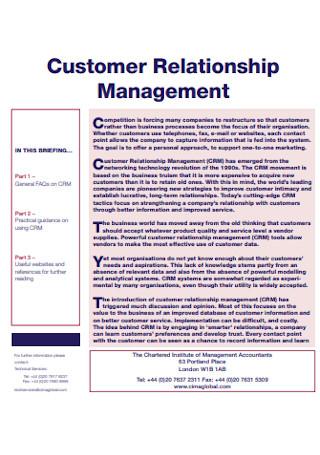 Customer Relationship Technical Management