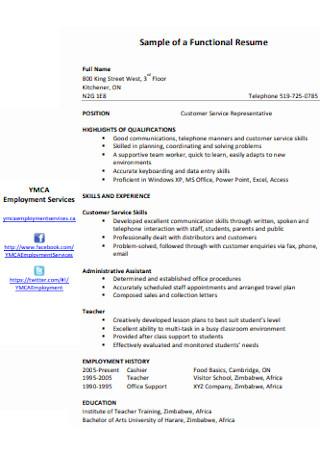 Customer Service Functional Resume