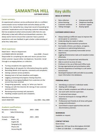 Customer Service Skills Resume