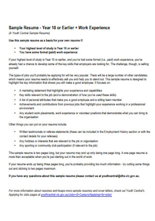 Customer Work Experience Service Resume
