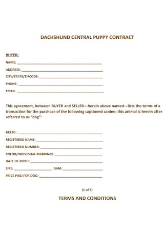 Dachshund Central Puppy Contract