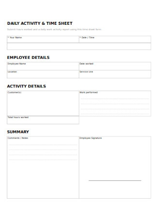 Daily Activity Report Sheet