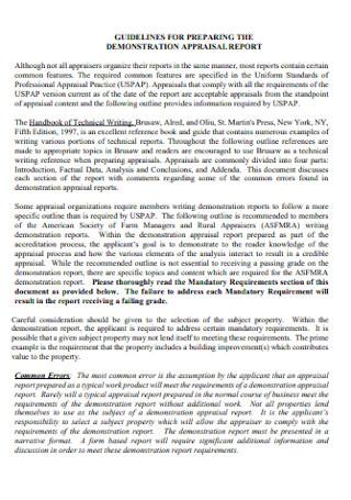 Demonstration Appraisal Report