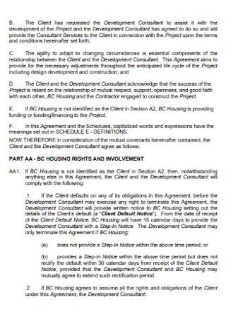 Development Consultant Services Contract