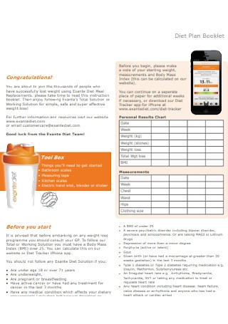 Diet Plan Booklet Template