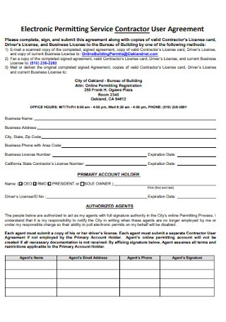 Electronic Permitting Service Contractor User Agreement