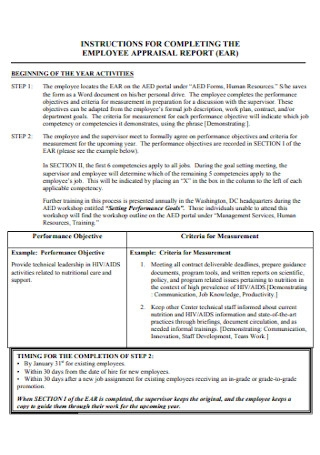 Employee Appraisal Report