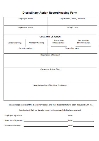 Employee Disciplinary Action Recordkeeping Form