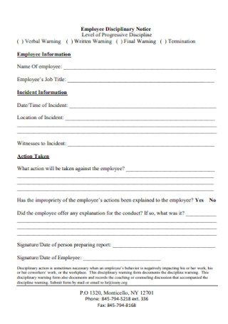 Employee Disciplinary Notice Action Form