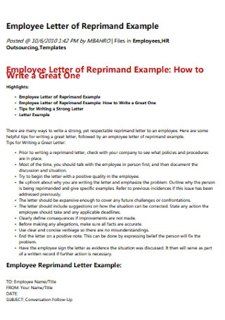 Employee Letter of Reprimand Example