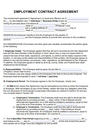 Employment Contract Agreement