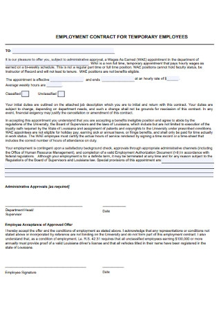 Employment Contract for for Temporary Employees